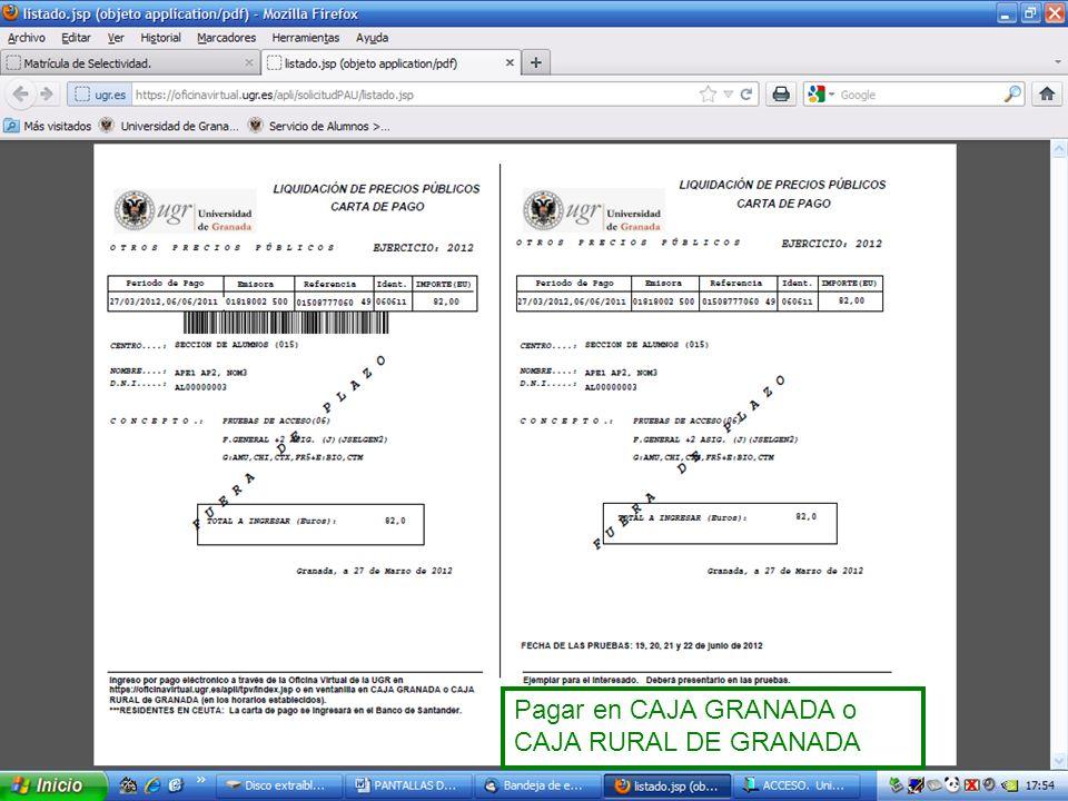 Pagar en CAJA GRANADA o CAJA RURAL DE GRANADA