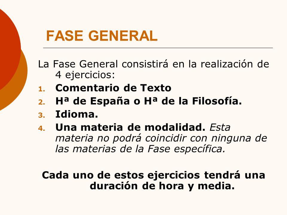 FASE GENERAL La Fase General consistirá en la realización de 4 ejercicios: 1.