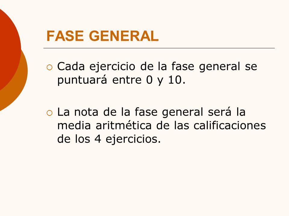 FASE GENERAL Cada ejercicio de la fase general se puntuará entre 0 y 10.