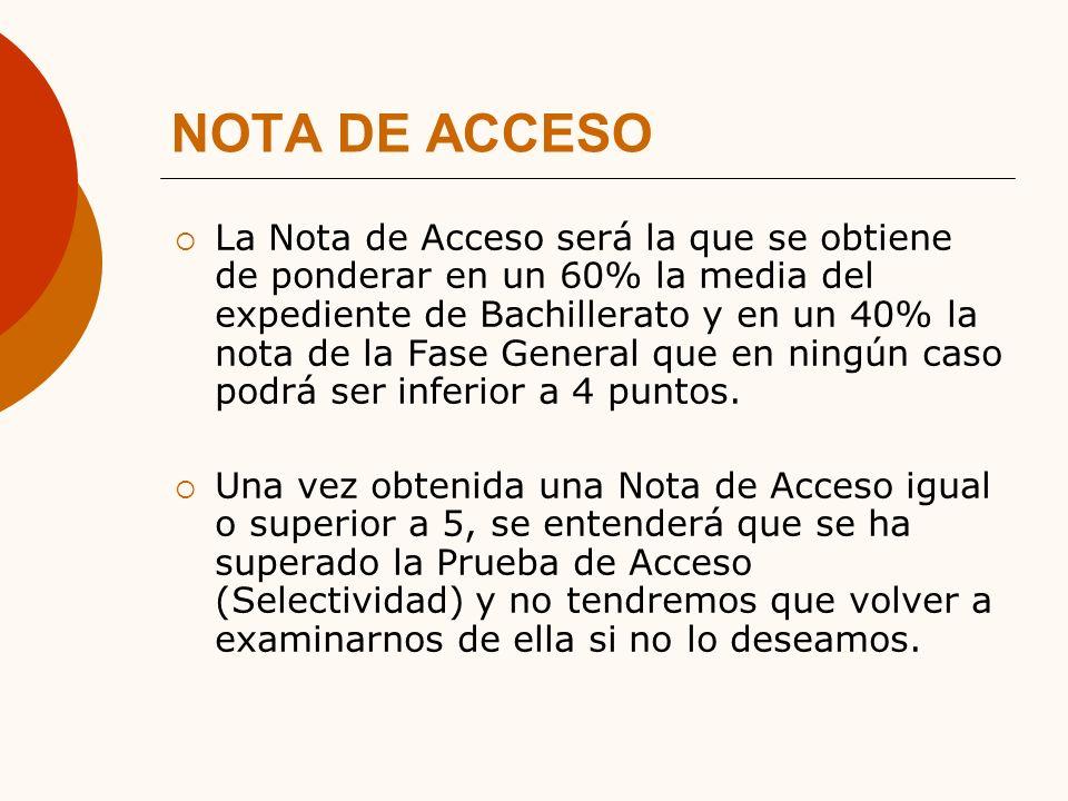 NOTA DE ACCESO La Nota de Acceso será la que se obtiene de ponderar en un 60% la media del expediente de Bachillerato y en un 40% la nota de la Fase General que en ningún caso podrá ser inferior a 4 puntos.