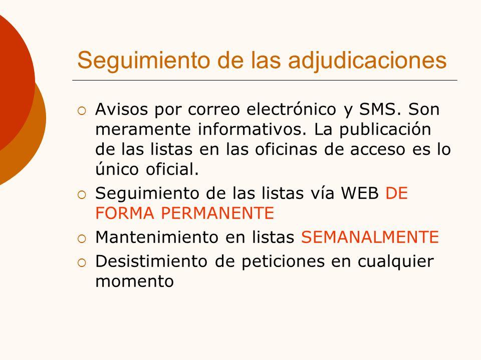 Seguimiento de las adjudicaciones Avisos por correo electrónico y SMS.