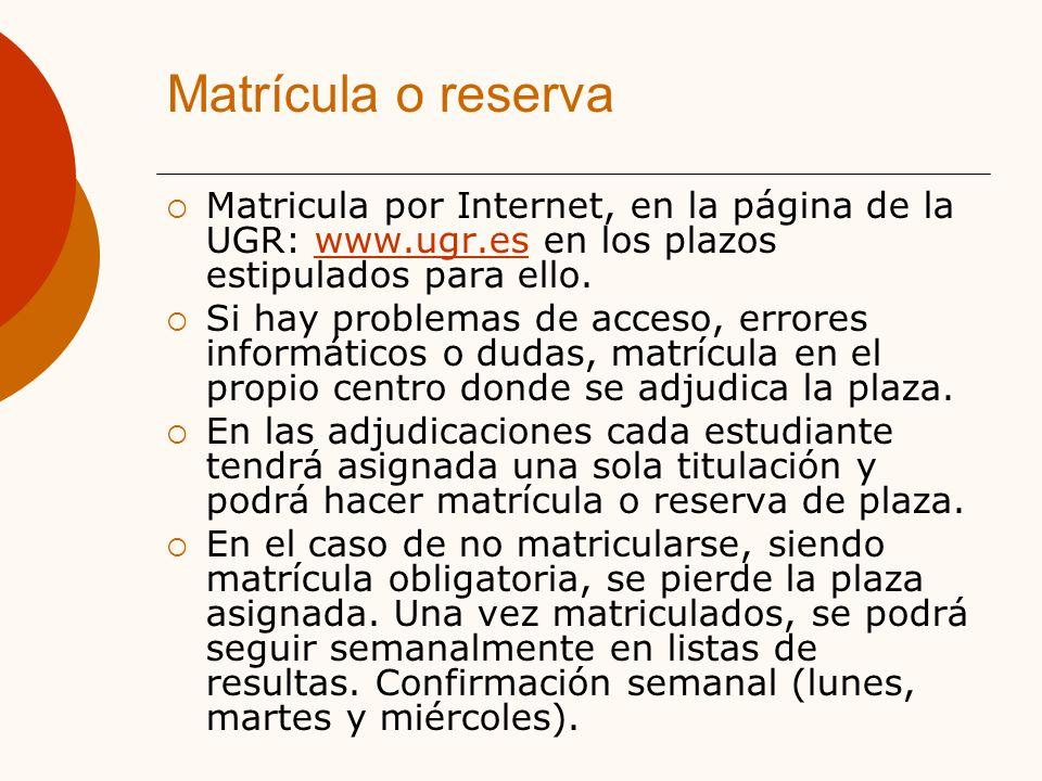 Matrícula o reserva Matricula por Internet, en la página de la UGR: www.ugr.es en los plazos estipulados para ello.www.ugr.es Si hay problemas de acceso, errores informáticos o dudas, matrícula en el propio centro donde se adjudica la plaza.