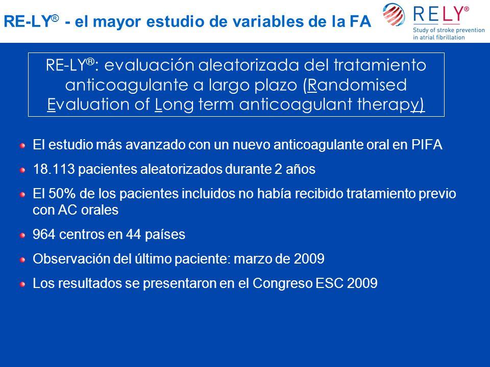 RE-LY ® - el mayor estudio de variables de la FA El estudio más avanzado con un nuevo anticoagulante oral en PIFA 18.113 pacientes aleatorizados duran