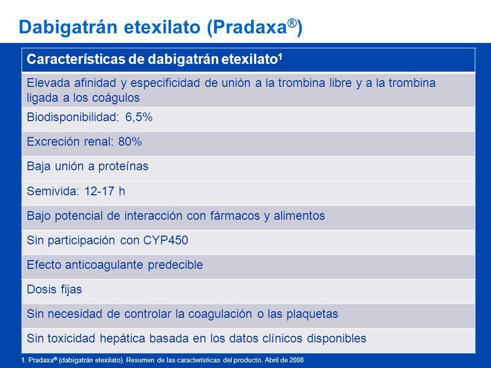 Dabigatrán etexilato (Pradaxa ® ) Características de dabigatrán etexilato 1 Elevada afinidad y especificidad de unión a la trombina libre y a la tromb