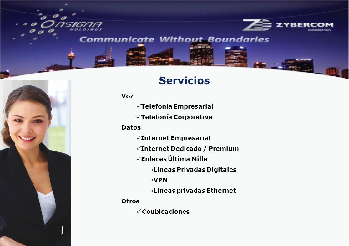 Voz Telefonía Empresarial Telefonía Corporativa Datos Internet Empresarial Internet Dedicado / Premium Enlaces Última Milla Lineas Privadas Digitales VPN Lineas privadas Ethernet Otros Coubicaciones Servicios