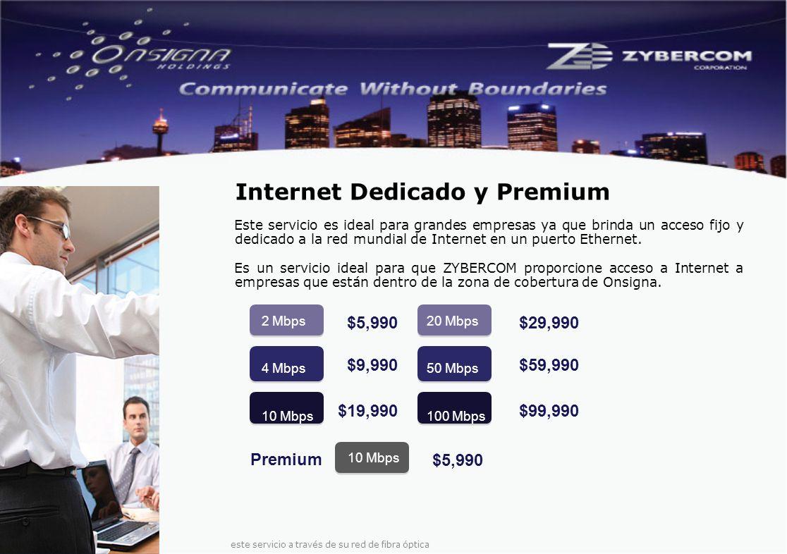 Este servicio es ideal para grandes empresas ya que brinda un acceso fijo y dedicado a la red mundial de Internet en un puerto Ethernet.