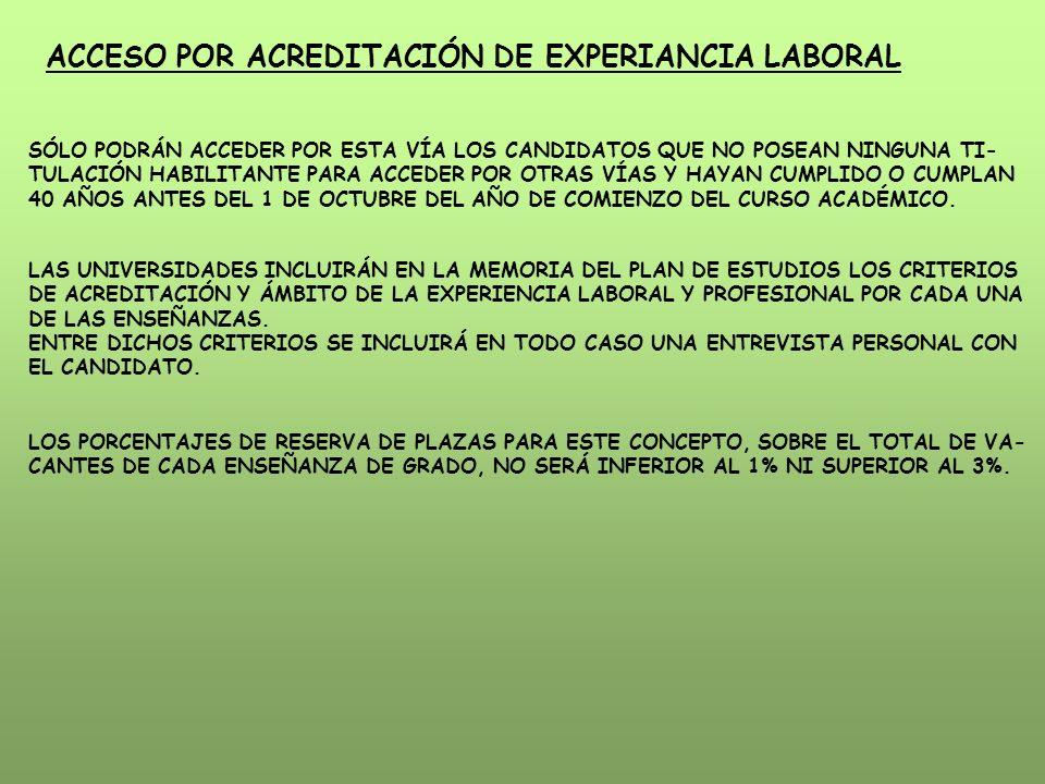 ACCESO POR ACREDITACIÓN DE EXPERIANCIA LABORAL SÓLO PODRÁN ACCEDER POR ESTA VÍA LOS CANDIDATOS QUE NO POSEAN NINGUNA TI- TULACIÓN HABILITANTE PARA ACCEDER POR OTRAS VÍAS Y HAYAN CUMPLIDO O CUMPLAN 40 AÑOS ANTES DEL 1 DE OCTUBRE DEL AÑO DE COMIENZO DEL CURSO ACADÉMICO.
