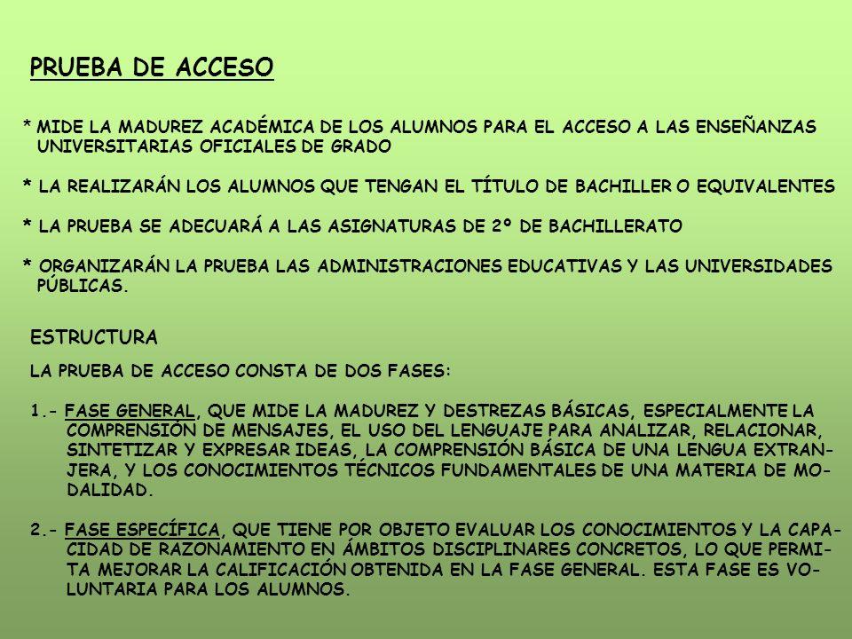 PRUEBA DE ACCESO * MIDE LA MADUREZ ACADÉMICA DE LOS ALUMNOS PARA EL ACCESO A LAS ENSEÑANZAS UNIVERSITARIAS OFICIALES DE GRADO * LA REALIZARÁN LOS ALUMNOS QUE TENGAN EL TÍTULO DE BACHILLER O EQUIVALENTES * LA PRUEBA SE ADECUARÁ A LAS ASIGNATURAS DE 2º DE BACHILLERATO * ORGANIZARÁN LA PRUEBA LAS ADMINISTRACIONES EDUCATIVAS Y LAS UNIVERSIDADES PÚBLICAS.