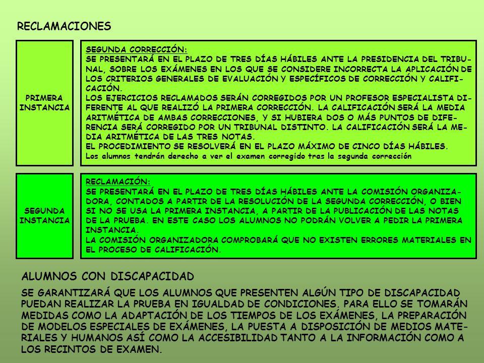 RECLAMACIONES PRIMERA INSTANCIA SEGUNDA CORRECCIÓN: SE PRESENTARÁ EN EL PLAZO DE TRES DÍAS HÁBILES ANTE LA PRESIDENCIA DEL TRIBU- NAL, SOBRE LOS EXÁMENES EN LOS QUE SE CONSIDERE INCORRECTA LA APLICACIÓN DE LOS CRITERIOS GENERALES DE EVALUACIÓN Y ESPECÍFICOS DE CORRECCIÓN Y CALIFI- CACIÓN.