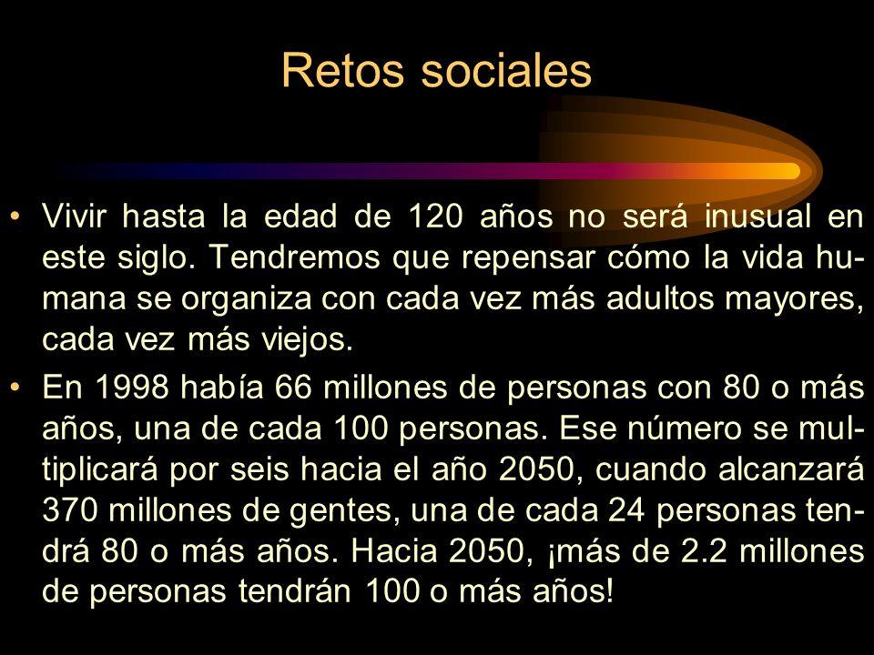 Retos sociales Vivir hasta la edad de 120 años no será inusual en este siglo.