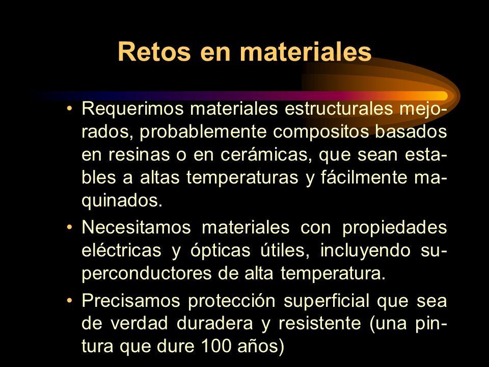 Retos en materiales Requerimos materiales estructurales mejo- rados, probablemente compositos basados en resinas o en cerámicas, que sean esta- bles a altas temperaturas y fácilmente ma- quinados.