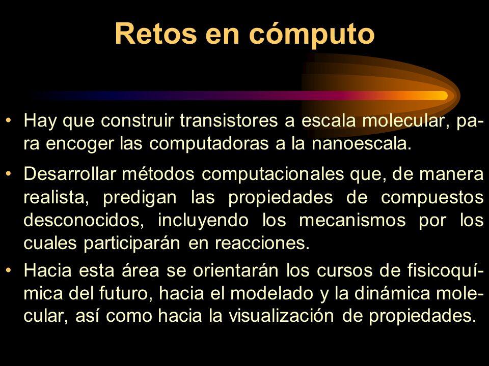 Retos en cómputo Hay que construir transistores a escala molecular, pa- ra encoger las computadoras a la nanoescala.