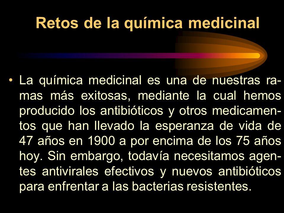 Retos de la química medicinal La química medicinal es una de nuestras ra- mas más exitosas, mediante la cual hemos producido los antibióticos y otros medicamen- tos que han llevado la esperanza de vida de 47 años en 1900 a por encima de los 75 años hoy.