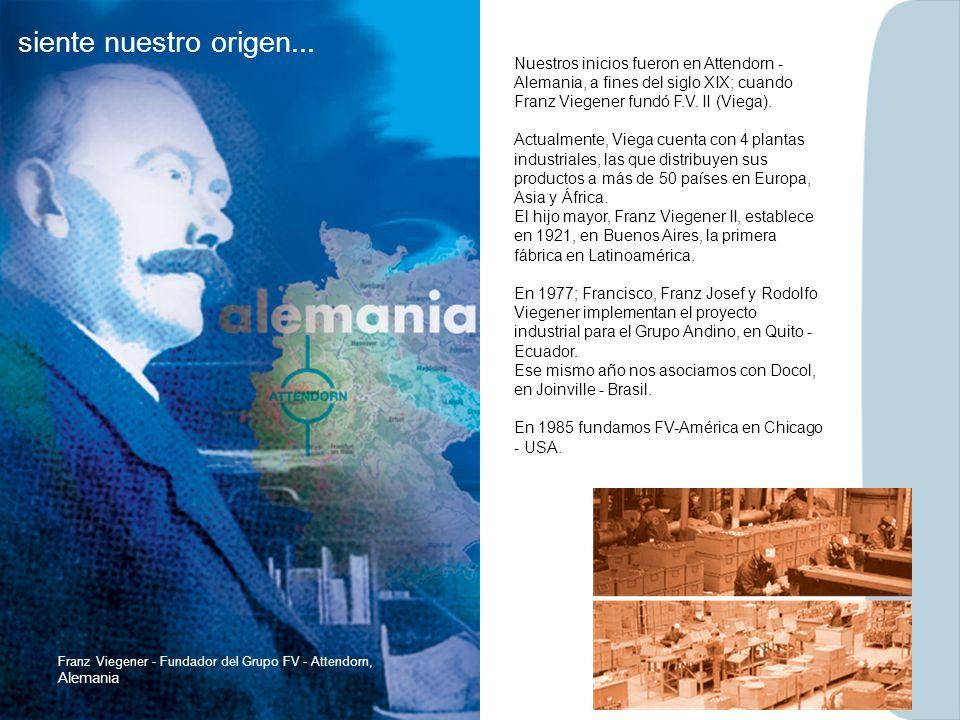 Nuestros inicios fueron en Attendorn - Alemania, a fines del siglo XIX; cuando Franz Viegener fundó F.V. II (Viega). Actualmente, Viega cuenta con 4 p