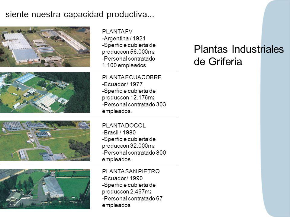siente nuestra capacidad productiva... Plantas Industriales de Griferia PLANTA ECUACOBRE -Ecuador / 1977 -Sperficie cubierta de produccon 12.176m 2 -P