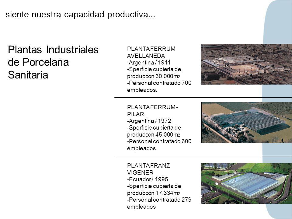 siente nuestra capacidad productiva... Plantas Industriales de Porcelana Sanitaria PLANTA FERRUM AVELLANEDA -Argentina / 1911 -Sperficie cubierta de p