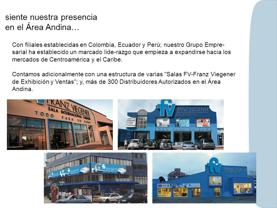 siente nuestra presencia en el Área Andina… Con filiales establecidas en Colombia, Ecuador y Perú; nuestro Grupo Empre- sarial ha establecido un marca