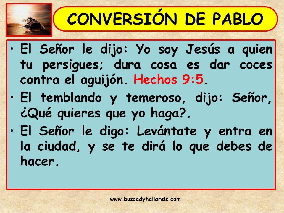 El Señor le dijo: Yo soy Jesús a quien tu persigues; dura cosa es dar coces contra el aguijón. Hechos 9:5. El temblando y temeroso, dijo: Señor, ¿Qué