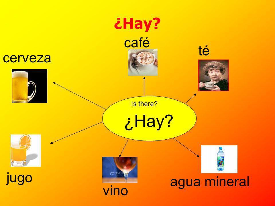 ¿Hay café cerveza té jugo agua mineral vino ¿Hay Is there