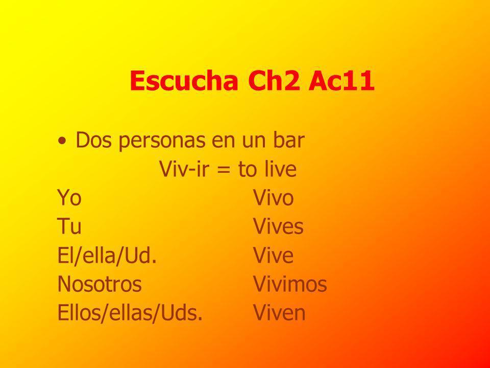 Escucha Ch2 Ac11 Dos personas en un bar Viv-ir = to live Yo Vivo Tu Vives El/ella/Ud.
