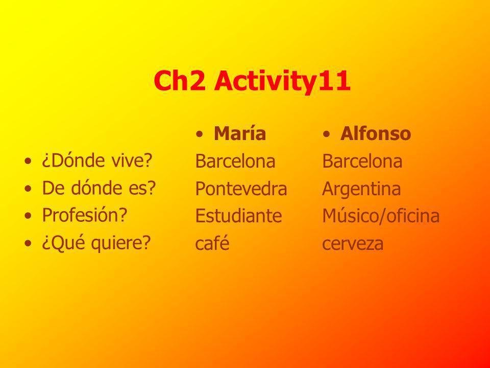 Ch2 Activity11 María Barcelona Pontevedra Estudiante café Alfonso Barcelona Argentina Músico/oficina cerveza ¿Dónde vive.