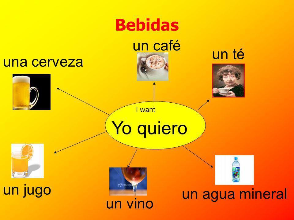 Bebidas un café una cerveza un té un jugo un agua mineral un vino Yo quiero I want