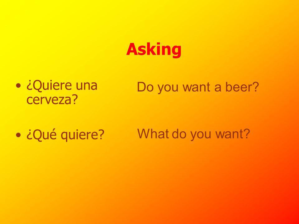 Asking ¿Quiere una cerveza ¿Qué quiere Do you want a beer What do you want