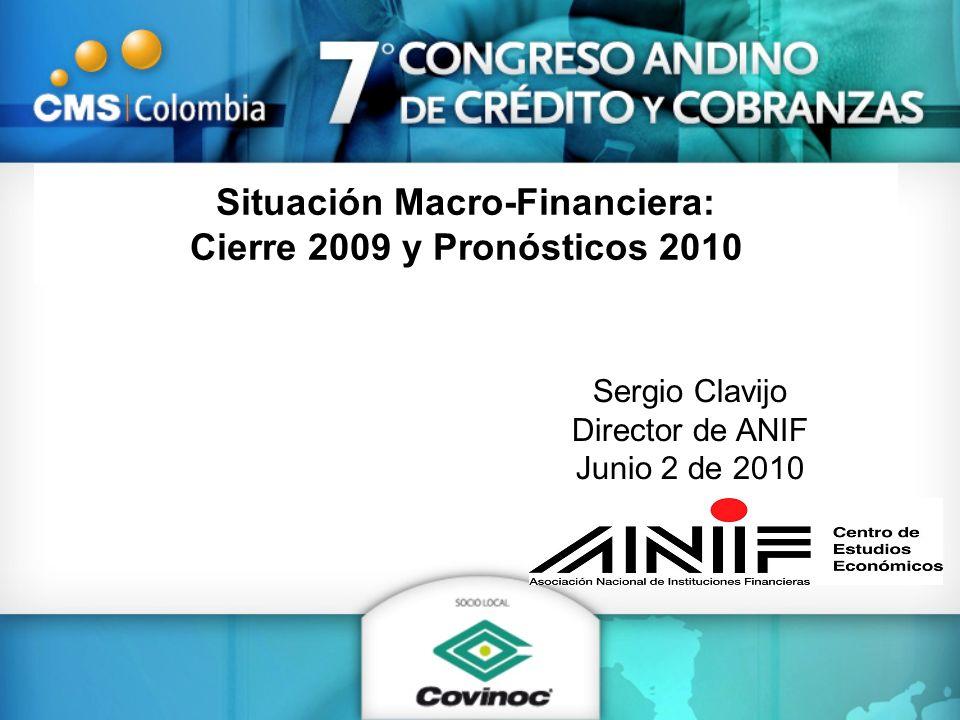 Tasa de interés y de usura: Microcrédito (a abril de 2010, %) Fuente: Superfinanciera y cálculos Anif Tasa de usura 33.9 Tasa promedio Microcrédito 28.3 Abr/10Sep/10 (%) 302 pbs