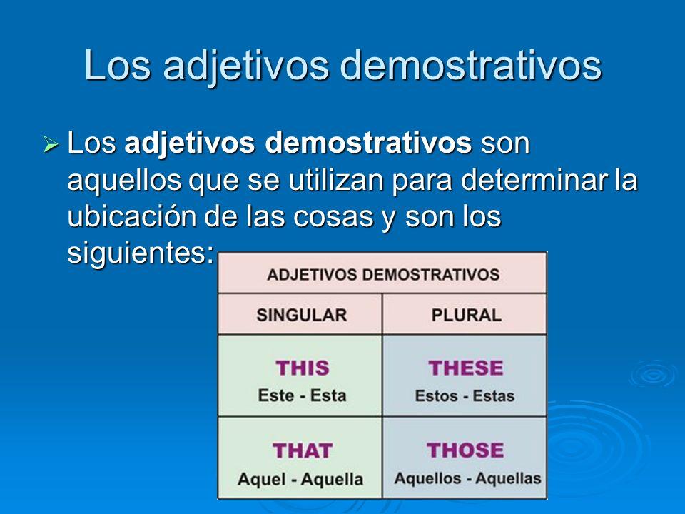 Los adjetivos demostrativos Los adjetivos demostrativos son aquellos que se utilizan para determinar la ubicación de las cosas y son los siguientes: Los adjetivos demostrativos son aquellos que se utilizan para determinar la ubicación de las cosas y son los siguientes: