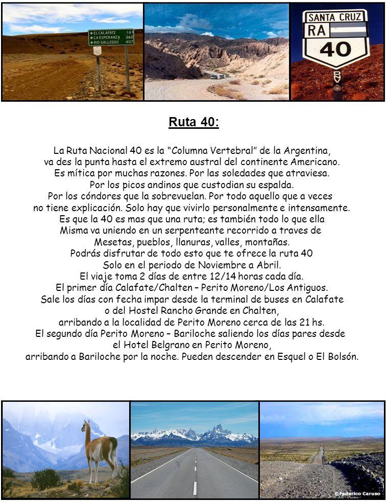 Ruta 40: La Ruta Nacional 40 es la Columna Vertebral de la Argentina, va des la punta hasta el extremo austral del continente Americano. Es mítica por