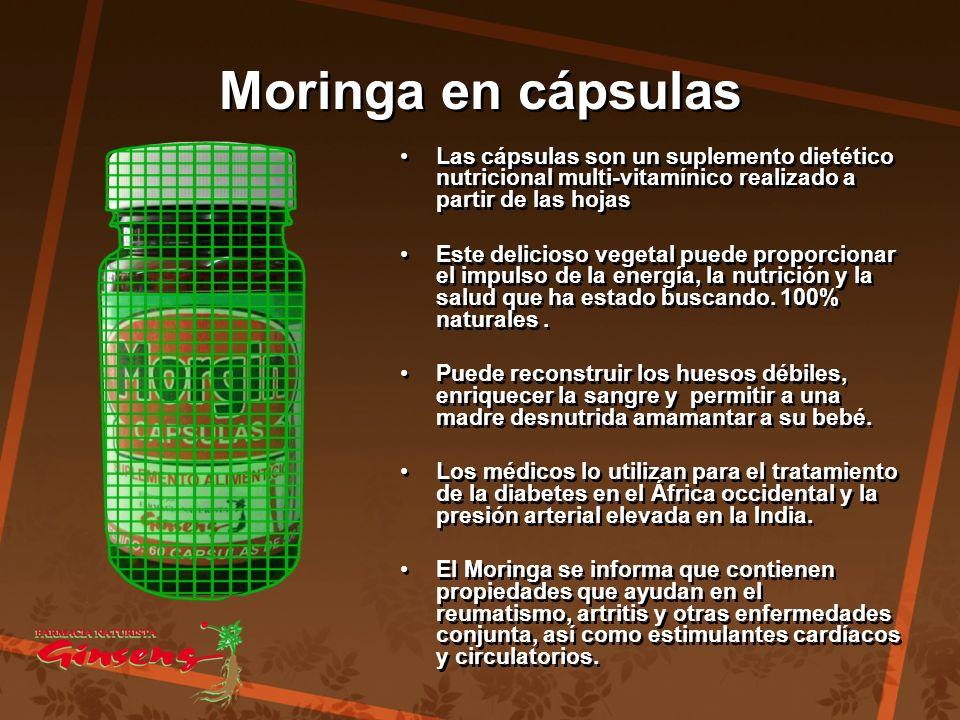Moringa en cápsulas Moringa en cápsulas Las cápsulas son un suplemento dietético nutricional multi-vitamínico realizado a partir de las hojas Este del