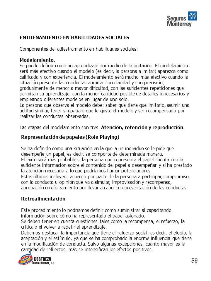 59 ENTRENAMIENTO EN HABILIDADES SOCIALES Componentes del adiestramiento en habilidades sociales: Modelamiento.