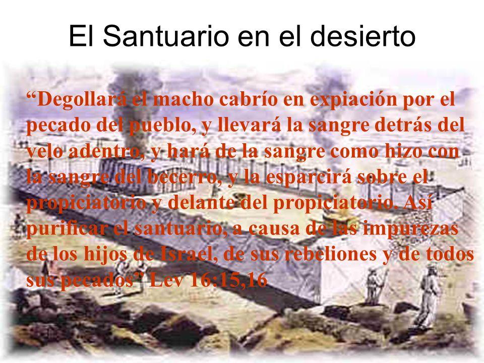 El Santuario en el desierto Degollará el macho cabrío en expiación por el pecado del pueblo, y llevará la sangre detrás del velo adentro, y hará de la