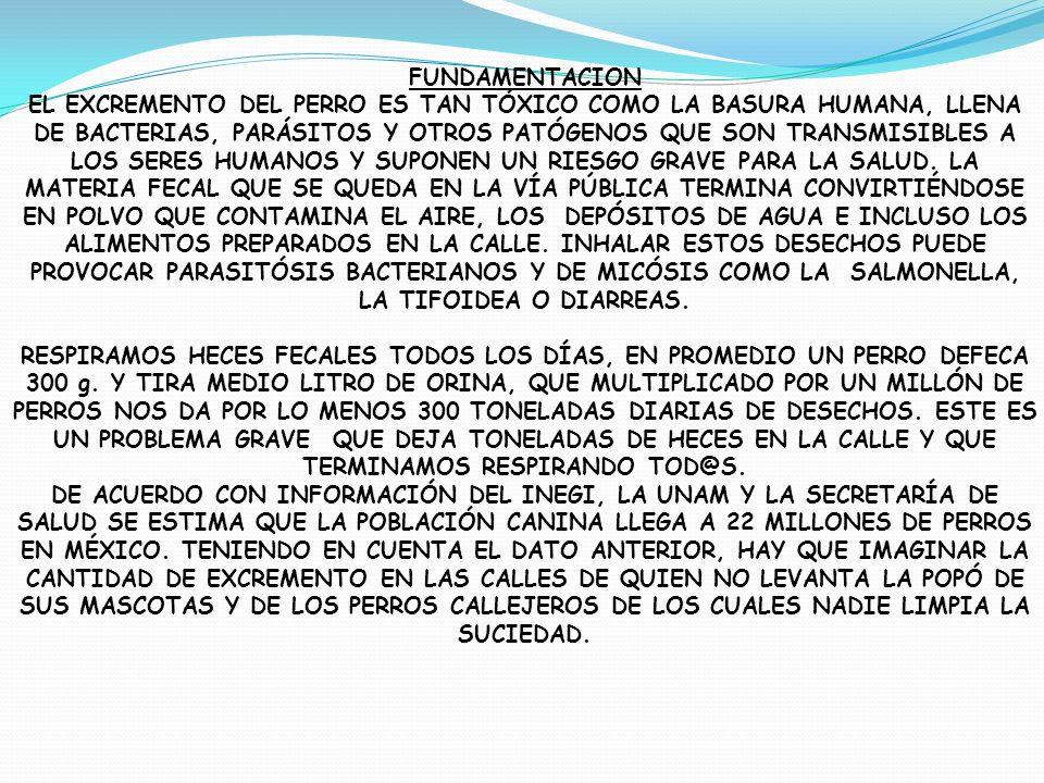 FUNDAMENTACION EL EXCREMENTO DEL PERRO ES TAN TÓXICO COMO LA BASURA HUMANA, LLENA DE BACTERIAS, PARÁSITOS Y OTROS PATÓGENOS QUE SON TRANSMISIBLES A LO
