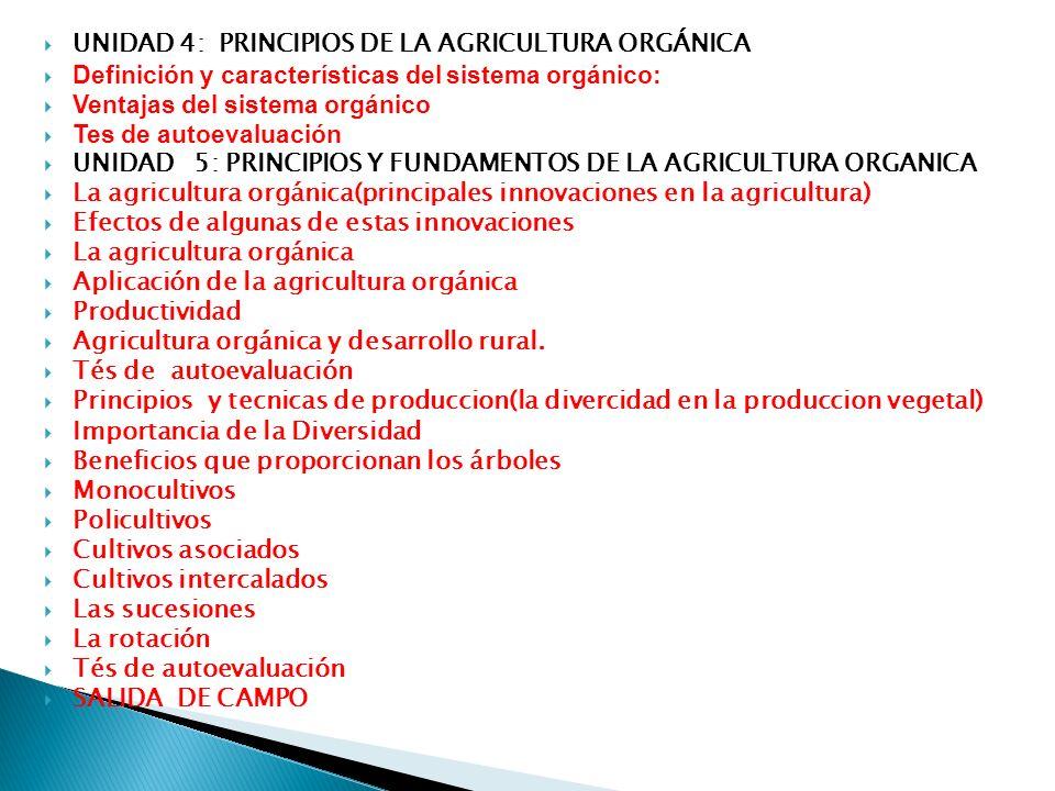 UNIDAD 7: LA CERTIFICACIÓN ORGÁNICA La Certificación orgánica La autoevaluación UNIDAD 8, LOS ABONOS Solidos Líquidos UNIDAD 9: RECONOCIMIENTO E IDENTIFICACIÓN DE PLAGAS Y ENFERMEDADES EN DISTINTOS CULTIVOS Las plagas y su identificación UNIDAD 10;PRODUCTOS FITOSANITARIOS NATURALES - Principio activo de origen vegetal - Principio activo de origen animal - Principio activo de origen mineral UNIDAD 11: GUÍA PRÁCTICA PARA OBTENER LOS PRODUCTOS FITOSANITARIOS Preparados con principios activos de origen animal Preparados con principios activos de origen vegetal Preparados con principios activos de origen mineral SALIDA DE CAMPO