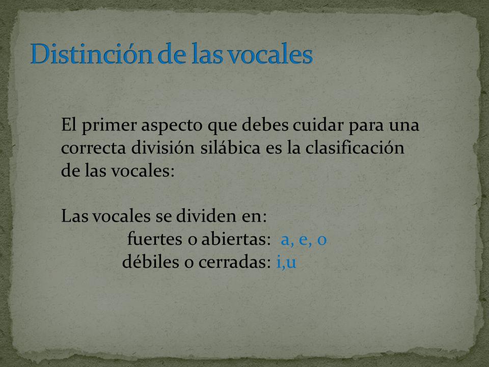 El primer aspecto que debes cuidar para una correcta división silábica es la clasificación de las vocales: Las vocales se dividen en: fuertes o abiertas: a, e, o débiles o cerradas: i,u