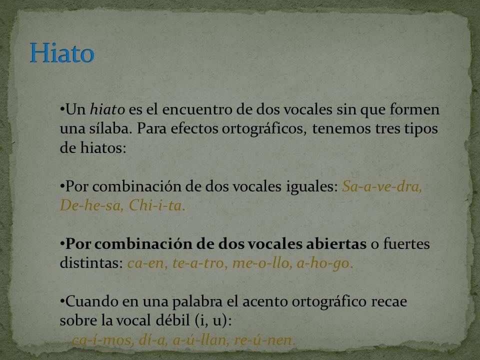 Un hiato es el encuentro de dos vocales sin que formen una sílaba. Para efectos ortográficos, tenemos tres tipos de hiatos: Por combinación de dos voc