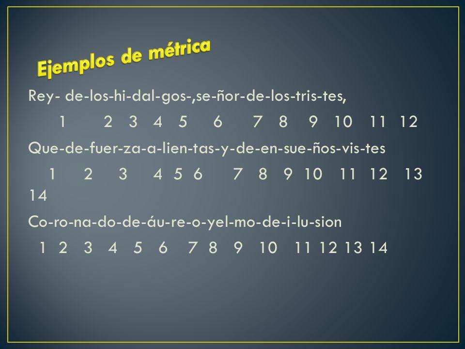 Rey- de-los-hi-dal-gos-,se-ñor-de-los-tris-tes, 1 2 3 4 5 6 7 8 9 10 11 12 Que-de-fuer-za-a-lien-tas-y-de-en-sue-ños-vis-tes 1 2 3 4 5 6 7 8 9 10 11 12 13 14 Co-ro-na-do-de-áu-re-o-yel-mo-de-i-lu-sion 1 2 3 4 5 6 7 8 9 10 11 12 13 14