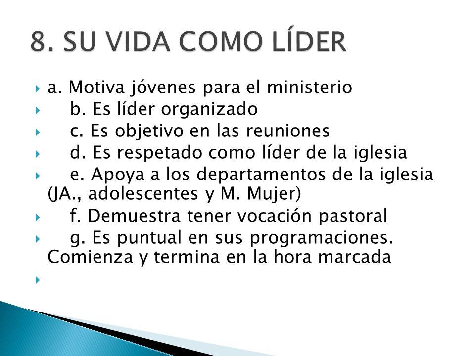 a. Motiva jóvenes para el ministerio b. Es líder organizado c. Es objetivo en las reuniones d. Es respetado como líder de la iglesia e. Apoya a los de