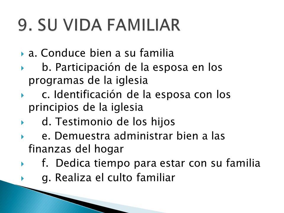 a.Conduce bien a su familia b. Participación de la esposa en los programas de la iglesia c.