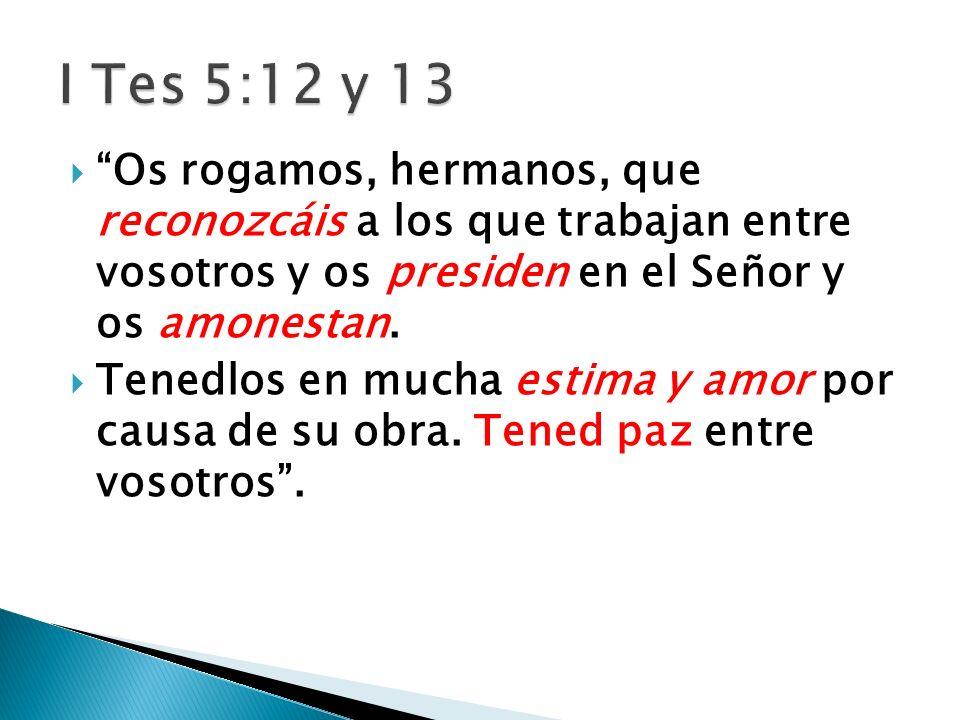 Os rogamos, hermanos, que reconozcáis a los que trabajan entre vosotros y os presiden en el Señor y os amonestan.