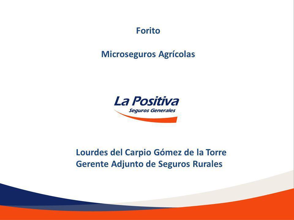 Lourdes del Carpio Gómez de la Torre Gerente Adjunto de Seguros Rurales Forito Microseguros Agrícolas