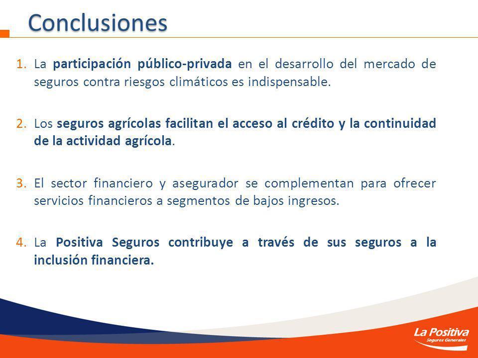 1.La participación público-privada en el desarrollo del mercado de seguros contra riesgos climáticos es indispensable.