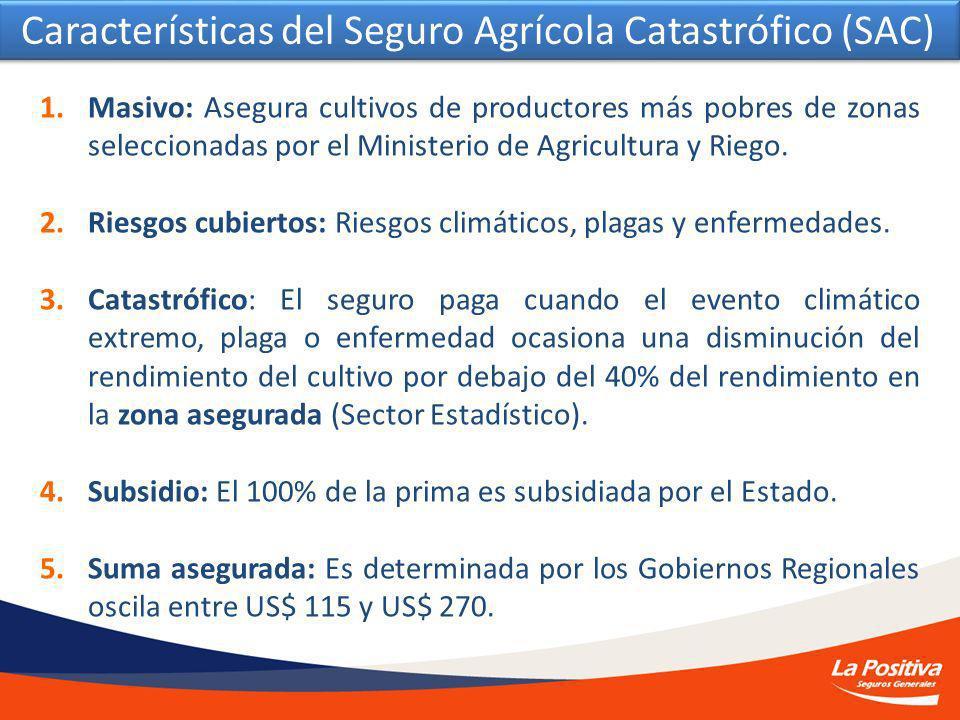 1.Masivo: Asegura cultivos de productores más pobres de zonas seleccionadas por el Ministerio de Agricultura y Riego.