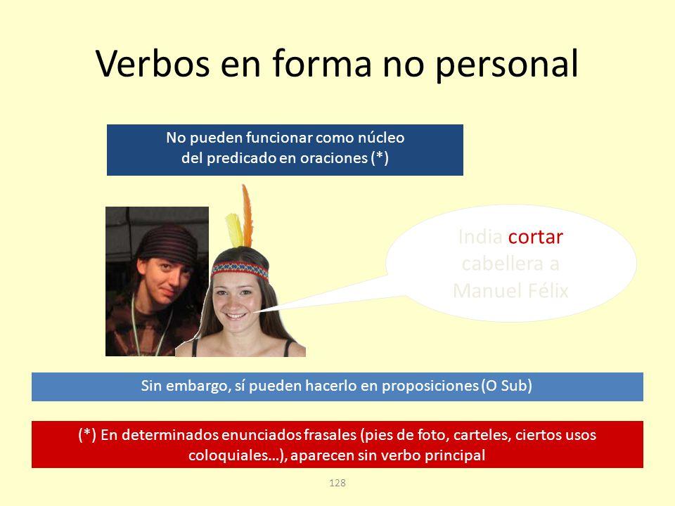 127 Subordinadas con verbos en forma no personal Son frecuentes las estructuras que tienen un infinitivo, un gerundio o un participio como núcleo del predicado.