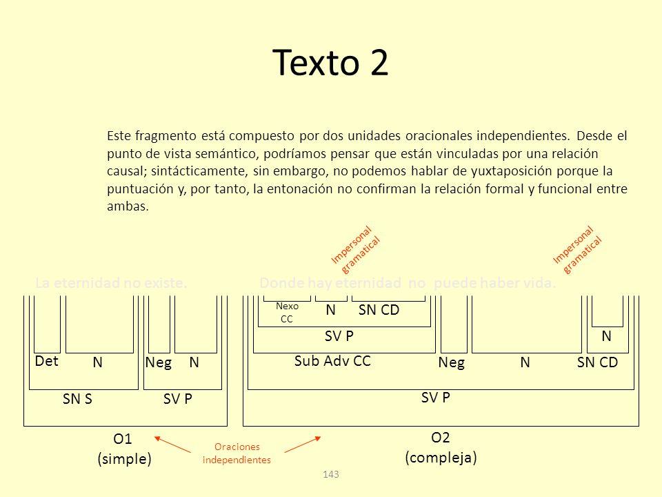 142 Texto 2 La eternidad no existe.Donde hay eternidad no puede haber vida.