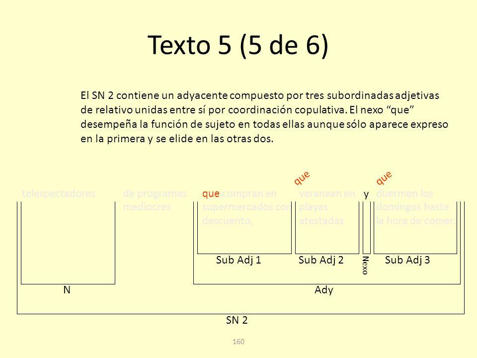 159 Texto 5 (4 de 6) hijos de empleados medios que llevan una vida media, SN 1 Sub Adj Ady Podría también interpretarse que el núcleo al que complementa este adyacente es empleados, especialmente por la proximidad y la repetición del adjetivo medios / media.