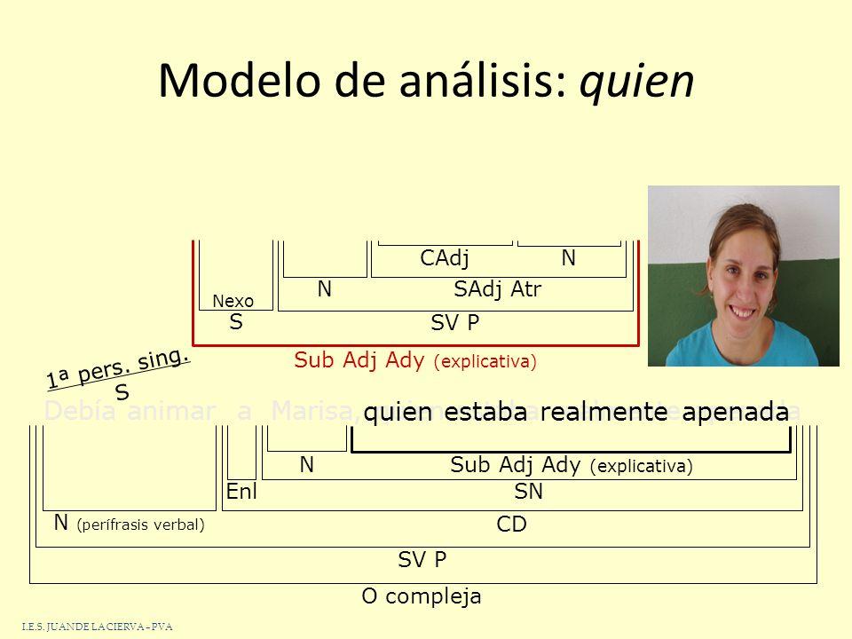 46 Modelo de análisis: que El libroque leí este veranome pareció interesante O compleja SN SSV P NDet Sub Adj AdyCINAtr que leí este verano Sub Adj Ady SV P CDNSN CC NDet 1ª pers.