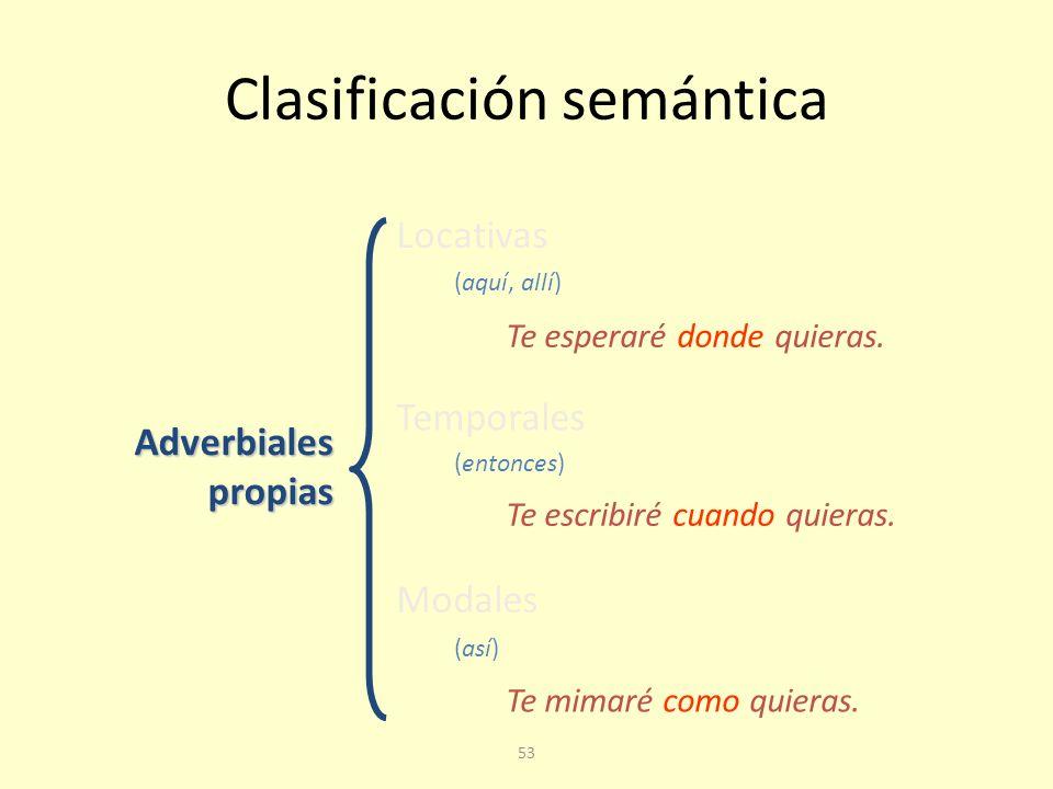 52 Adverbiales propias Se pueden sustituir por un adverbio y se integran en la estructura de la oración compleja con las funciones propias del adverbio.