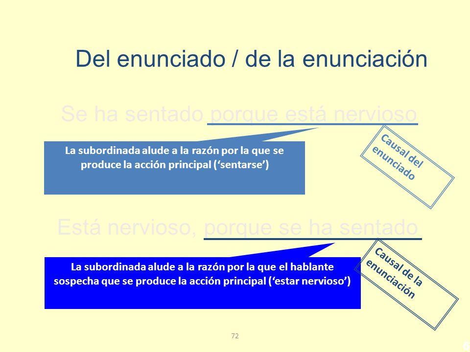 71 Subordinadas causales Las causales son subordinadas adverbiales impropias que expresan la razón, o motivo por el que se produce bien la acción de verbo principal, o bien la enunciación.